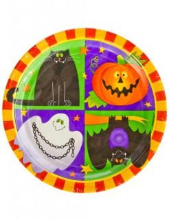 Halloween Kinderparty-Pappgeschirr 10 Teller bunt 23cm