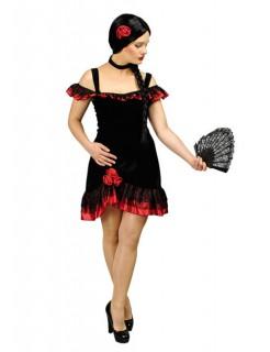 Spanierin Flamenco Damenkostüm schwarz-rot