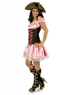Sexy Piratin Damenkostüm rosa-braun