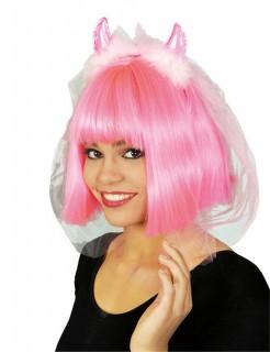 Junggesellinnenabschied Teufel-Haarreif mit Schleier rosa-weiss