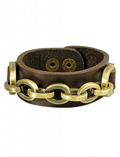 Biker Leder-Armband mit Kette braun-gold
