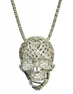 Totenkopf-Kette Pirat mit Strass Halskette silber