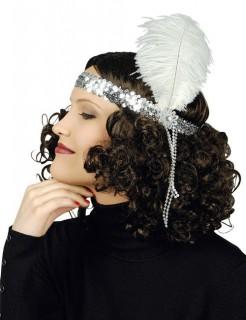 20er Pailletten-Haarband mit Feder silber-weiss