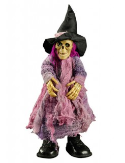Animierte Zombie-Hexe mit Sound Halloween-Deko bunt 31x13cm
