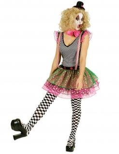Clownfrau Damenkostüm Harlekin schwarz-weiss-bunt