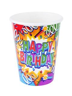 Geburtstagsparty Becher Happy Birthday 8 Stück bunt 266ml