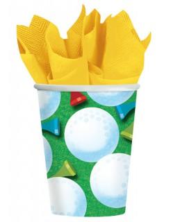 Party Becher Golfbälle 266ml grün-gelb-weiss