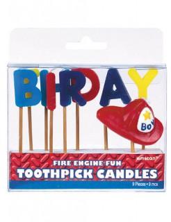 Tortenkerzen Happy Birthday Feuerwehr 9 Stück bunt 7,5x2cm