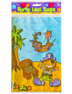 Piratenschatz Trick or Treat Tüten 8 Stück bunt 16,5x25cm