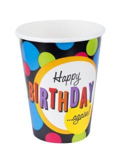 Geburtstagsparty Pappbecher Happy Birthday again 8 Stück bunt 266ml