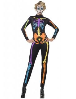 Neon Skelett Second-Skin-Catsuit Halloween Damenkostüm schwarz-bunt