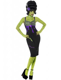 Pin-Up Monster 50er Halloween Damenkostüm schwarz-lila-grün
