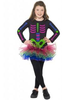 Neon Skelett Mädchen Kinderkostüm schwarz-pink-grün-blau
