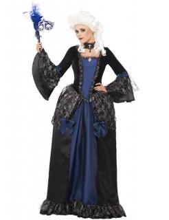 Barock Prinzessin Venedig Damenkostüm blau-schwarz