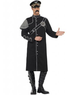 Steam Punk Offizier Herrenkostüm schwarz-grau