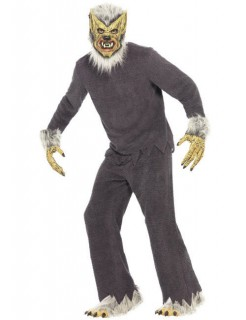 Werwolf Halloween-Kostüm grau-weiss-gelb