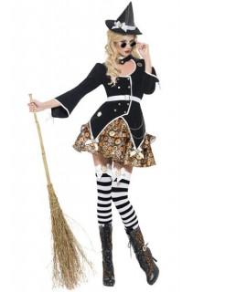 Steampunk Hexe Damenkostüm schwarz-gold