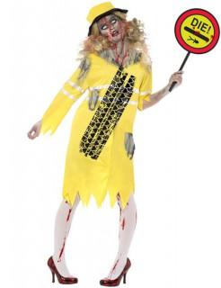 Zombie Verkehrslotse Damenkostüm gelb-schwarz