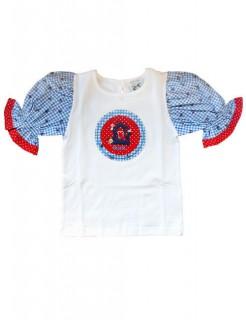 Kinder Trachten T-Shirt für Mädchen original blau-rot-weiss