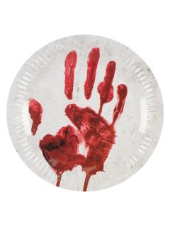 Blutige Hand Pappteller Halloween-Party-Deko 10 Stück weiss-rot 23cm