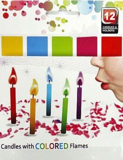 Geburtstagskerzen mit bunter Flamme Party-Deko 12 Stück bunt 6cm