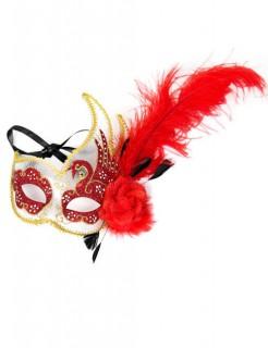 Venezianische Augenmaske mit Federn rot-gold