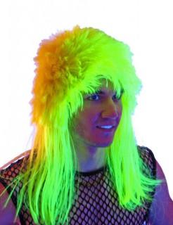 Vokuhila Herren UV Perücke neongelb