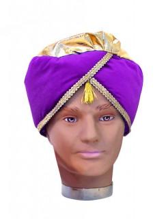 Orientalischer Turban lila-gold
