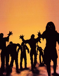 Zombie Halloween-Deko-Folien Set schwarz-orange 0,5x1,40m