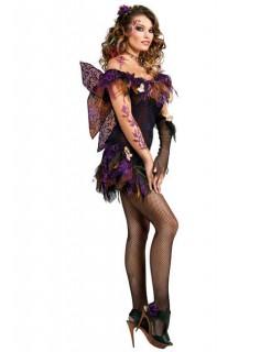 Gothic Fee Damenkostüm Elfe lila-schwarz