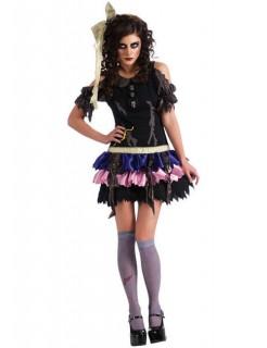 Zombie Ragdoll Halloween-Damenkostüm schwarz