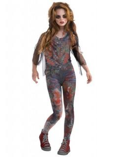 Zombie-Mädchen Halloween-Kinderkostüm grau-rot