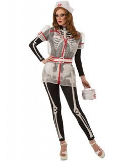 Skelett Krankenschwester Halloween-Damenkostüm schwarz-weiss