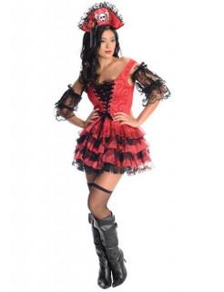Sexy Piratin Damenkostüm rot