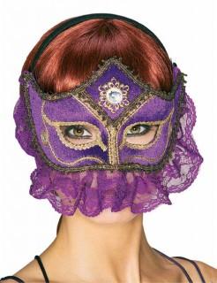 Venezianische Augenmaske mit Spitze lila
