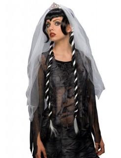 Gothic-Braut Perücke mit Zöpfen schwarz-weiss