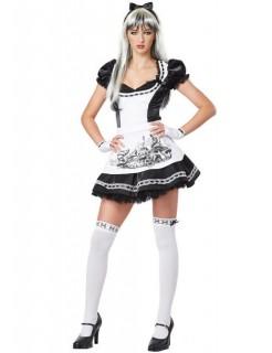 Gothic Alice-Kostüm für Damen Halloweenkostüm schwarz-weiss