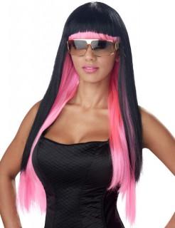 Popstar Langhaar-Perücke mit Pony schwarz-pink