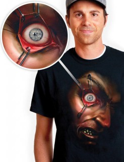 Digital Dudz Bewegliches Auge T-Shirt Halloween Hektisches Auge schwarz-braun