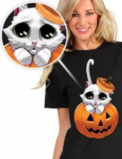Digital Dudz Halloween T-Shirt Kätzchen schwarz-bunt