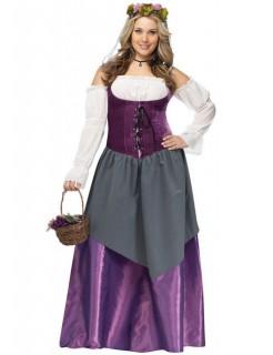 Mittelalter Magd XL Damenkostüm lila-weiss