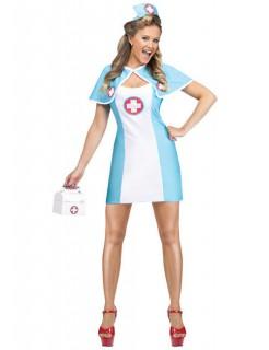 Süsse Krankenschwester Damenkostüm hellblau-weiss