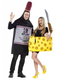 Käse und Wein Paar-Kostüm gelb-schwarz