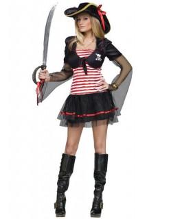 Sexy Piratin Damenkostüm schwarz-rot