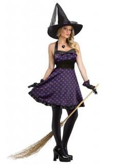 Elegante Hexe Halloween Damenkostüm lila-schwarz