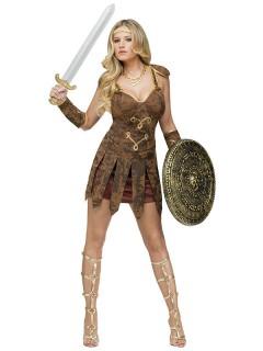 Sexy Gladiatorin Antike-Damenkostüm braun