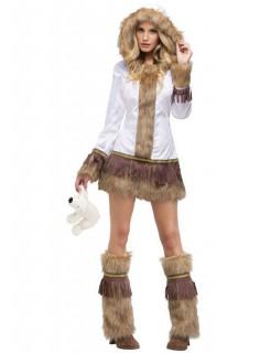 Sexy Eskimo Damenkostüm weiss-braun