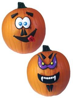 Lustige Kürbis-Gesichter Halloween Party-Deko lila-weiss 12-teilig