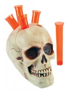 Totenkopf Shot-Halter Halloween-Deko weiss-rot 15x15cm
