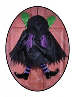 Verunglückte Hexe Halloween-Hängedeko schwarz-grün-lila 52x65cm